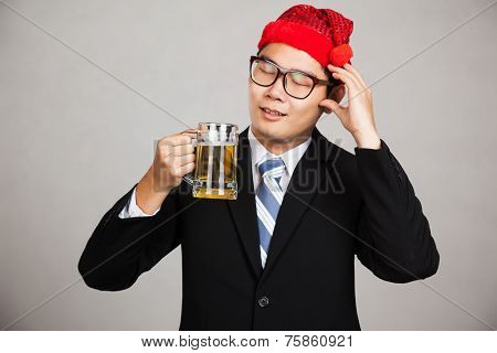 Asian Businessman With Party Hat Get Drunk With Beer