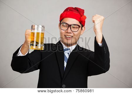 Happy Asian Businessman With Party Hat Get Drunk With Beer