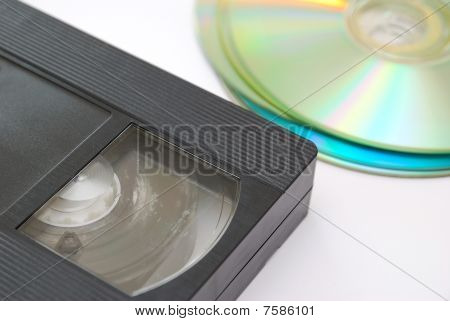 Old Vhs Video Tape And Cd