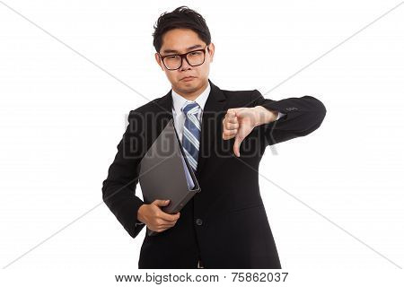 Asian Businessman In Bad Mood  Thumbs Down Hold Folder