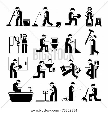 plumbing service and cleaner worker