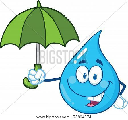 miling Water Drop Character With Umbrella