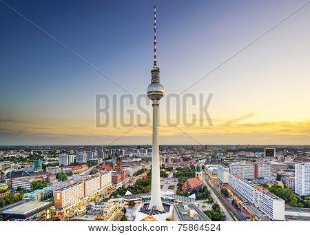 Berlin, Germany city skyline at Alexanderplatz.