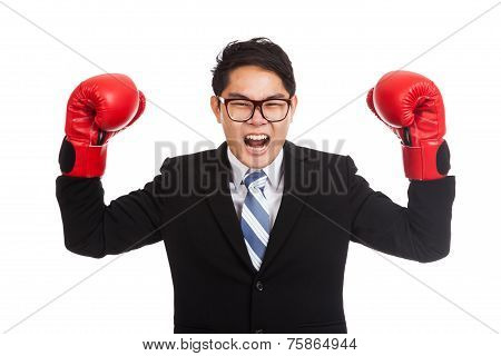 Asian Businessman Satisfy With Red Boxing Glove