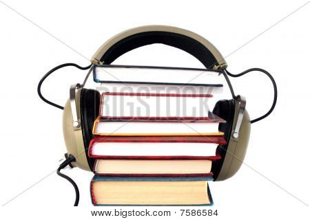 Old Style Headphones And Books