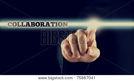 Businessman Activating A Collaboration Button On Virtual Screen