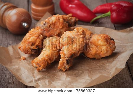 Southern fried chicken wings, classic american fast food