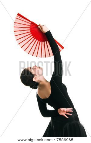 Beautiful Dancer Girl With A Red Fan