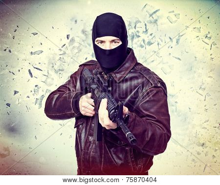 terrorist portrait and background explosion