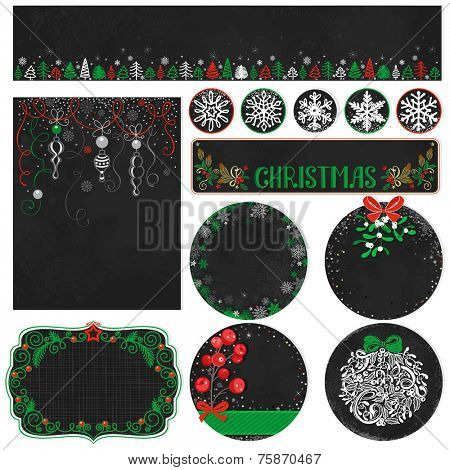 Collection Christmas labels and decorations in vintage style with hand-drawn holiday symbols, vector illustration 10 eps.