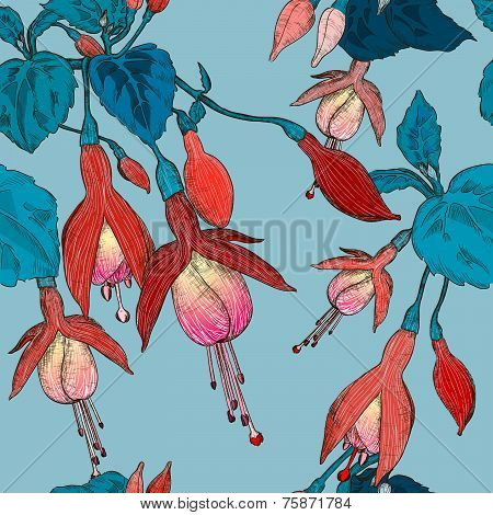Vector Seamless pattern with fuchsia flowers