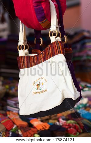 Bag Hanging Outside Souvenir Shop in Copacabana, Bolivia