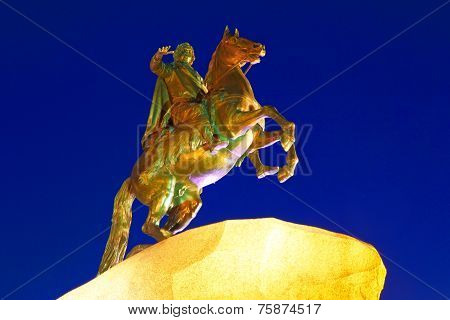 Night view of St. Petersburg. Russia. Monument to Peter I.