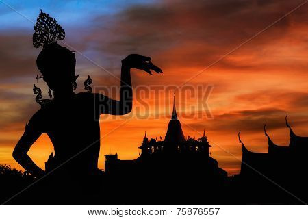 Thai Dance Woman With Background Silhouette