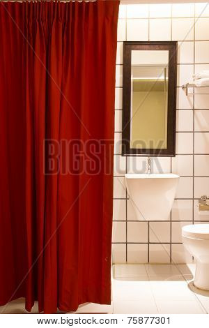 Small Bathroom Red Curtain