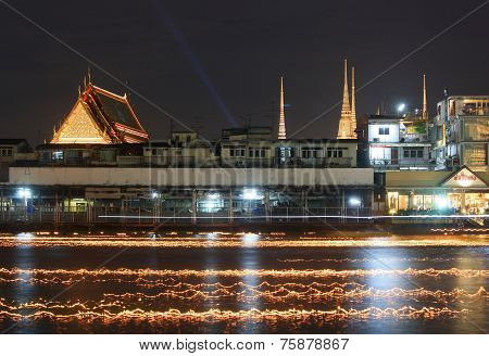 Light And Color In The River Of Loy Krathong Festival