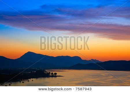 Colorful sunset over Aegean sea