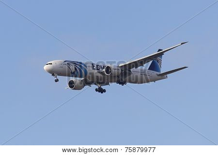 EgyptAir Boeing 777 in New York sky before landing at JFK Airport
