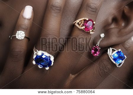 Tanzanite, Rubellite and Diamonds, Designer Jewellery on the Skin of a Black Lady
