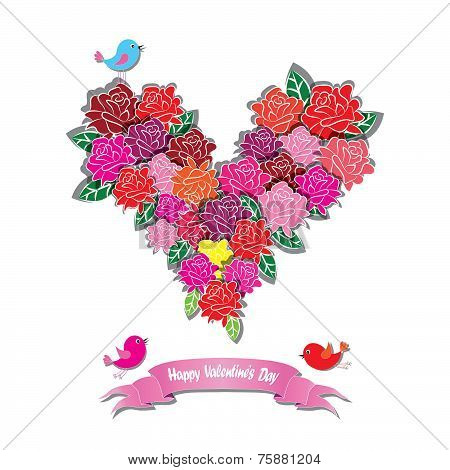 Pink Vector Rose Heart