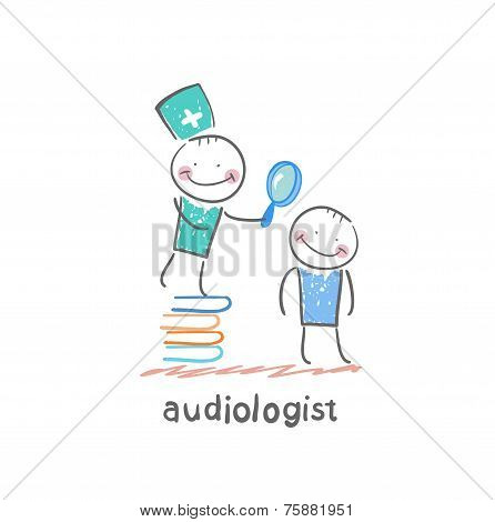 otolaryngologist stands on a pile of books and looking through a magnifying glass on the patient's e