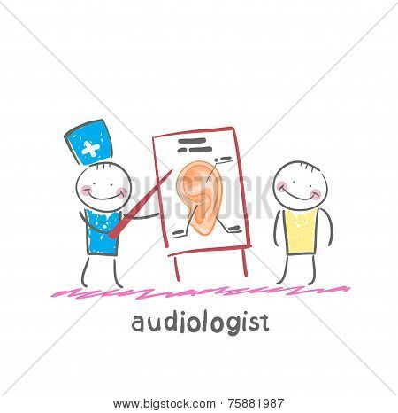 otolaryngologist shows a presentation about the patient's ear