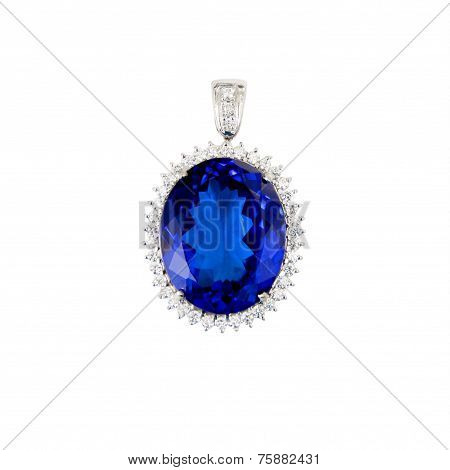 Tanzanite, Blue Gemstone, Pendant, with Diamonds, Isolated on White Background