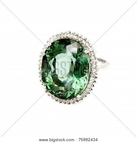 Ring - Green Semi-Precious Gemstone with Diamonds,  Isolated on White