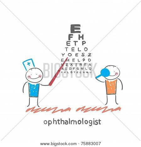 ophthalmologist checks sight of the patient with the test