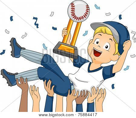 Illustration Featuring a Baseball Player Being Lifted by His Teammates in Celebration of Their Victory