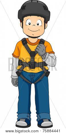 Illustration Featuring a Boy Wearing Safety Gear