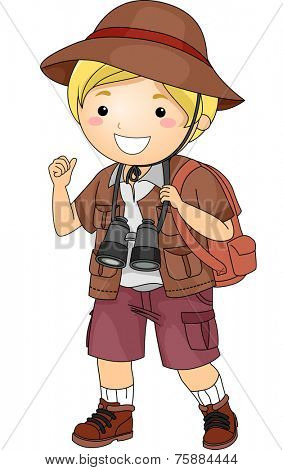 Illustration Featuring a Boy Wearing Safari Outfit