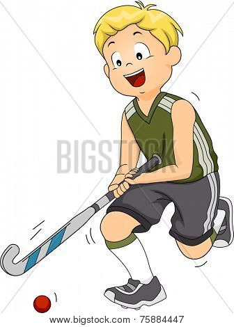 Illustration Featuring a Field Hockey Player Moving the Ball Across the Field
