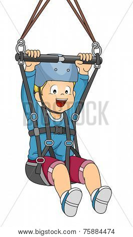 Illustration Featuring a Boy Sliding Down a Zipline