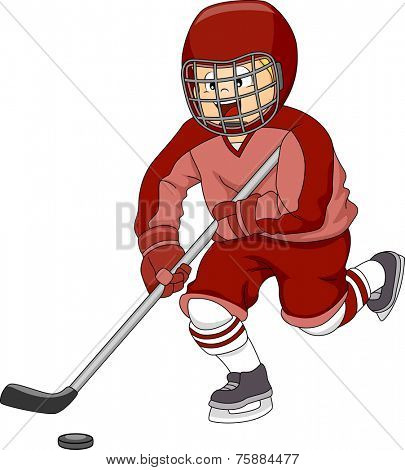 Illustration Featuring an Ice Hockey Player Moving the Puck Across the Ice