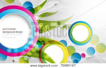 eps10 vector multicolor overlapping round frames cartoon concept background