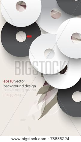 eps10 vector overlapping disc with silhouette foliage background
