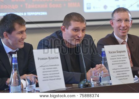 NOVOSIBIRSK, RUSSIA - NOVEMBER 7, 2014: Olympic and World champion in greco-roman wrestling Hasan Beroyev on the press-conference before the Friendship Cup. The competitions start on November 8