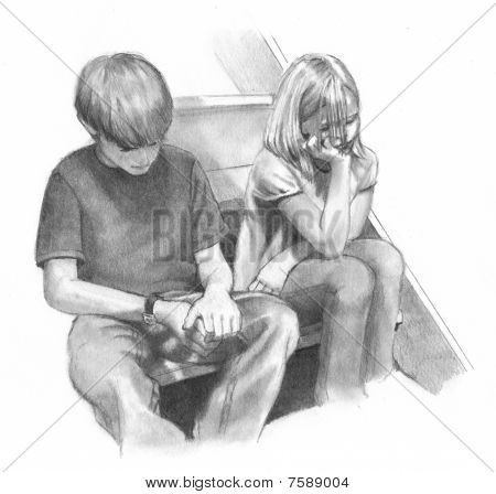 Pencil Drawing of Bored or Worried Children