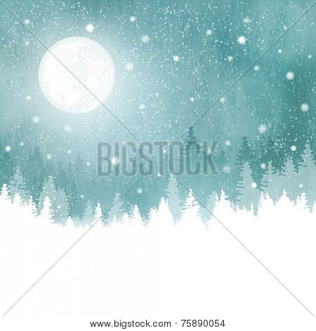 Abstract winter background with rows of fir trees, full moon and snowfall. Peaceful winter landscape in shades of blue, green. copy space.