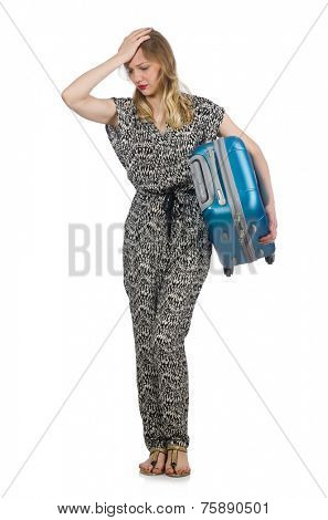 Traveling concept with person and luggage