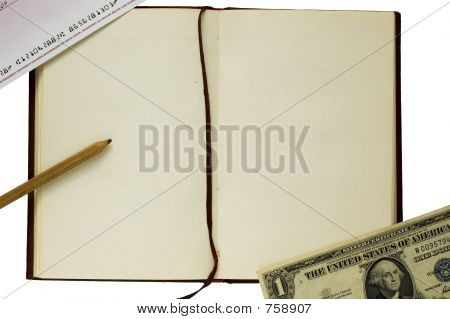 Old blank book with pencil, check and dollar on white background