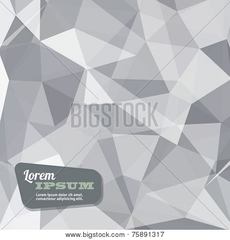 Abstract triangle geometrical light grey background, Vector.