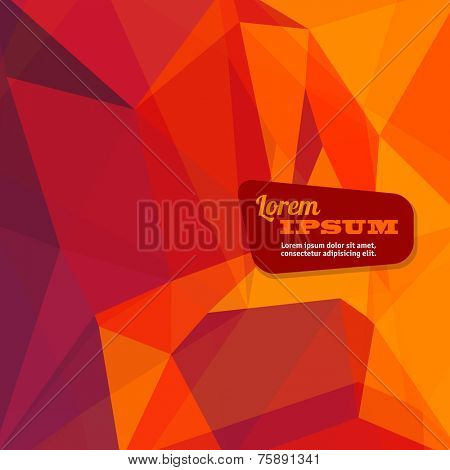 Abstract triangle geometrical fire orange background, Vector.