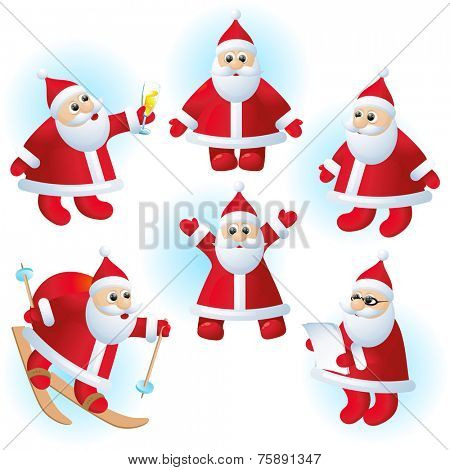 Santa Clauses vector set.