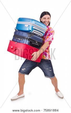 Man traveling with suitcases isolated on white