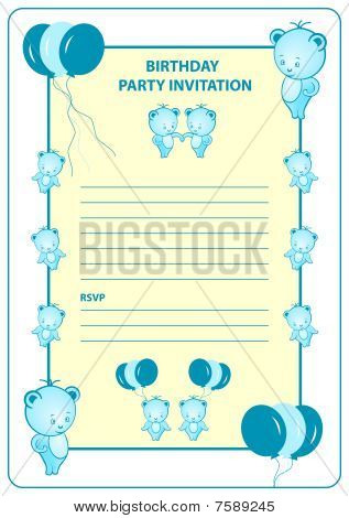 Childs birthday party invitation card