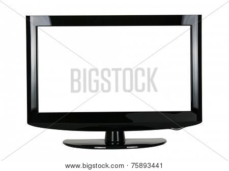 blank flat screen TV set, isolated on white background