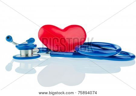 a heart and a stethoscope lying next to each other. photo icon for heart disease and heartache.