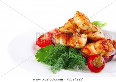 image of chicken brisket chunks on vegetables